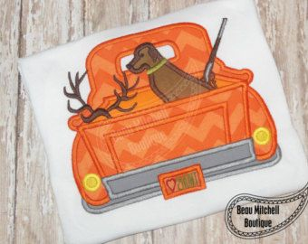 Omg I love this!! Cute!!! Hunting truck applique embroidery design