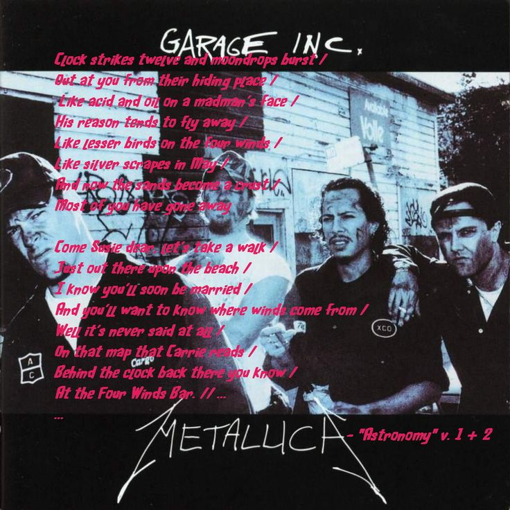 Very cool song on the trippier side of Metallica ... spoiler alert - aliens are influencing history through an altered human.  No really!  Wikipedia told me so!