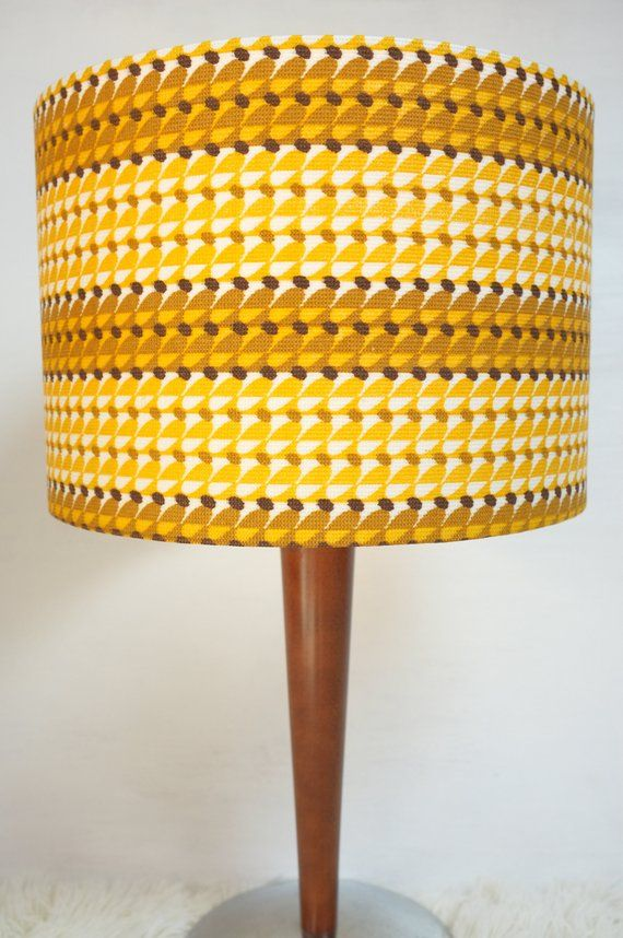 Retro Lampshade Original 60s 70s Fabric 30cm Drum Vintage Etsy