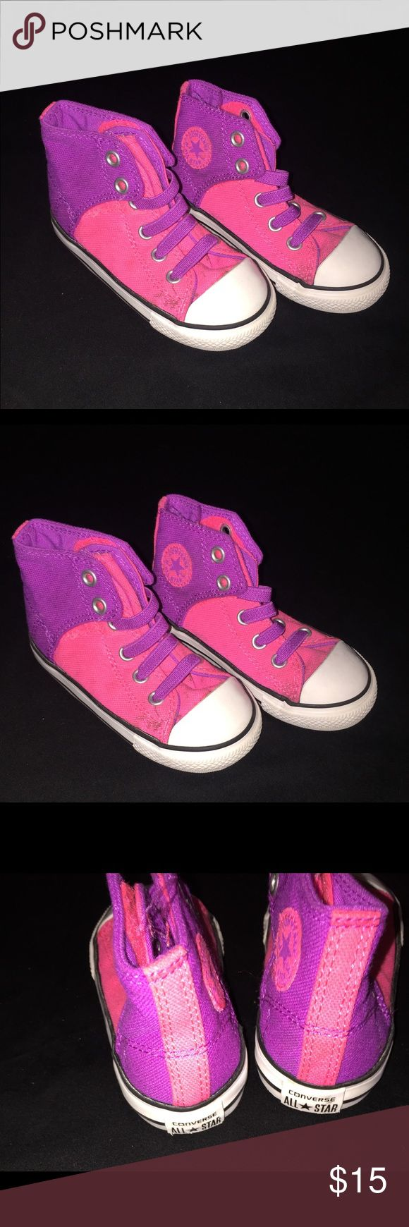 Toddler Girl Converse All Star Shoes Size 7  Toddler Girl Converse All Star Shoes Size 7 in Good Condition. There are 2 Spots on the top of the shoes but shoes are still very cute. Please look at pics  Converse Shoes Sneakers