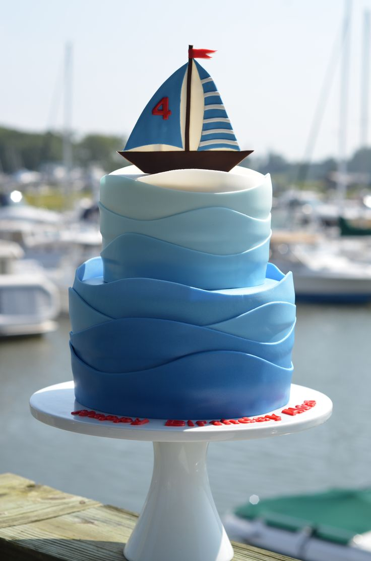 Birthday Cakes - Sailboat birthday cake with gradient colored waves.