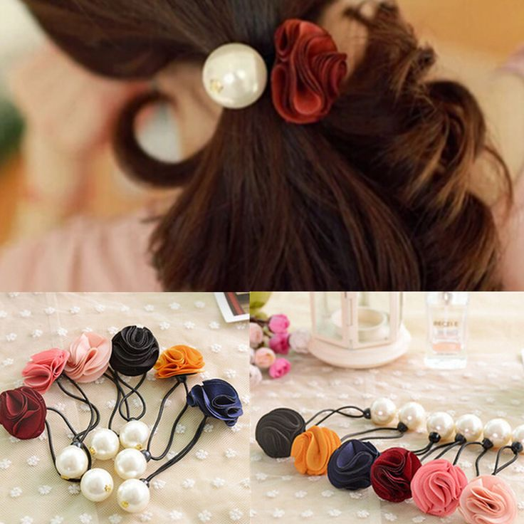 Fashion Factory Price 2015 Korean Fabric Flowers/Floral Girls Ponytail Holders Gum for Hair Ties Women's Pearl Elastic Hair Band-in Hair Accessories from Women's Clothing & Accessories on Aliexpress.com | Alibaba Group