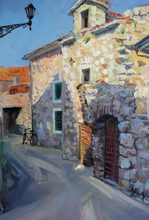 Oil Painting Old Street Original Art Landscape Old Town Beige Etsy Oil Painting Landscape Oil Painting Mediterranean Style Art