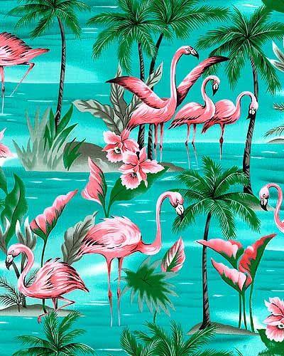 Paradise Island Flamingos Turquoise
