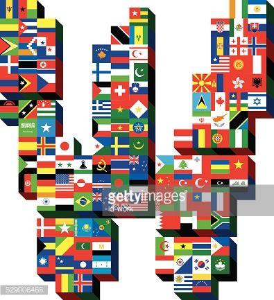 ベクトルアート : letter W with national flags pattern
