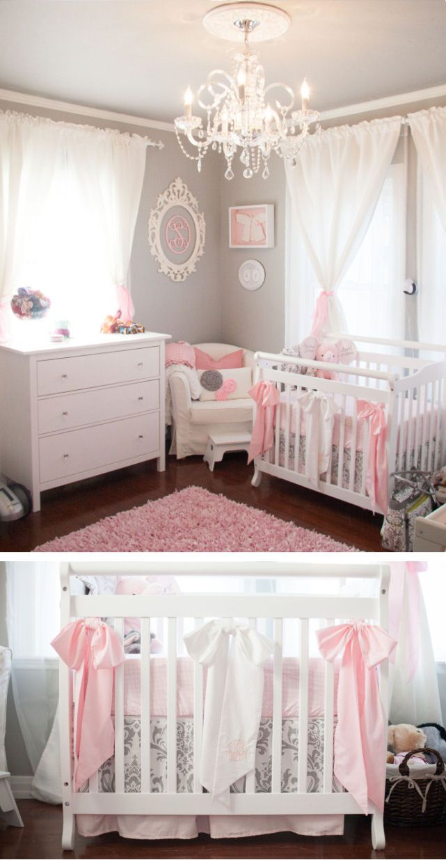 Exquisite Grey & White Baby Girl Nursery With Pink ♥ L.O.V.E.