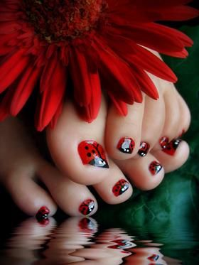 lady bug pedicure black and red =========================== nail art | nail polish