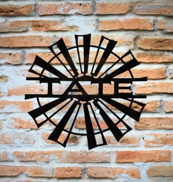 Split Windmill Name Farmhouse Metal Sign Decor Barn Or Farm Etsy In 2020 Metal Signs Decor Farm Art Design Art