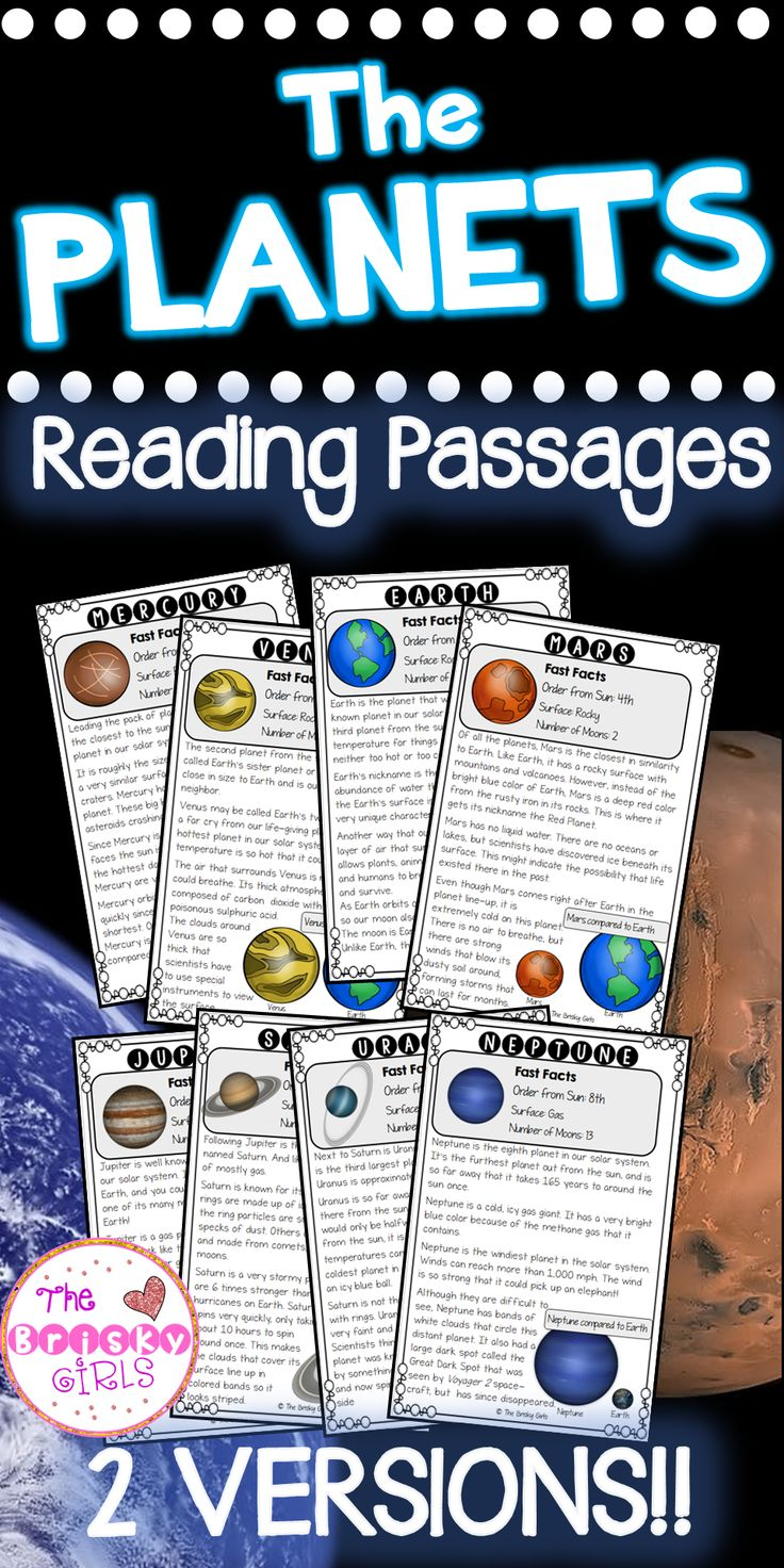 Planets Reading Passages, Outer Space Activities, Space Resources, Space Activities, Earth, Sun, Moon, Planets, Stars, Planet Facts