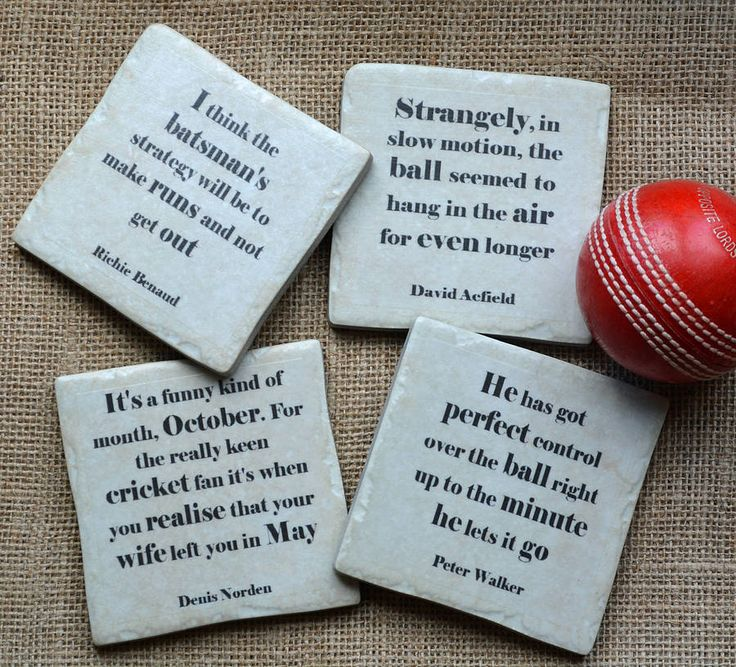 famous cricket quotes coasters by me and my sport | notonthehighstreet.com