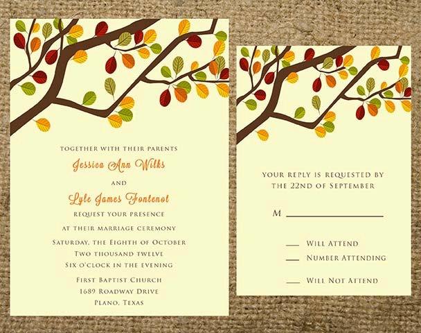 printable fall autumn tree branch wedding invitation set