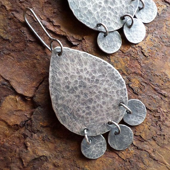 Sterling Silver Dangle Earrings, Exotic Ethnic Silversmith Handwrought Hammered Teardrop Charcoal Contemporary Urban Gypsy Silver Jewelry on Etsy, $120.00