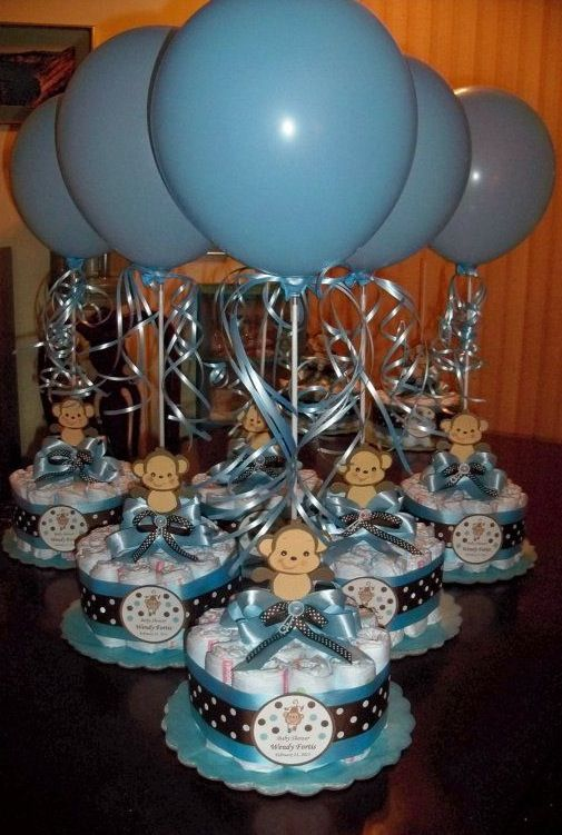 Monkey themed diaper cake
