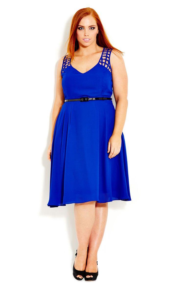 City Chic - CROSS HATCH DRESS - Women's Plus Size Fashion #citychic #citychiconline #newarrivals #plussize