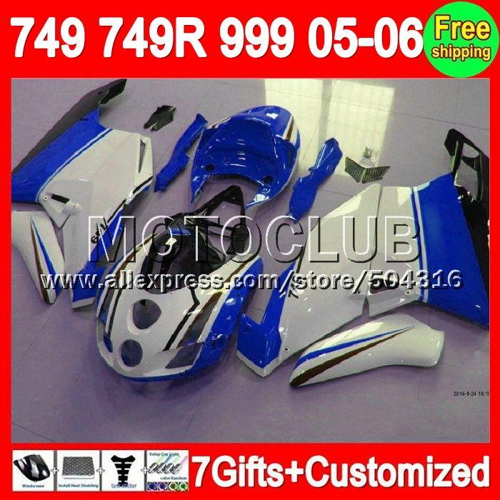 Синий белый 7 подарки + 05 - 06 для DUCATI 749 999 05 06 749 - 999 синий черный 7C101 749 749R 999R 2005 - 2006 749 S 999 S 2005 2006 зализа