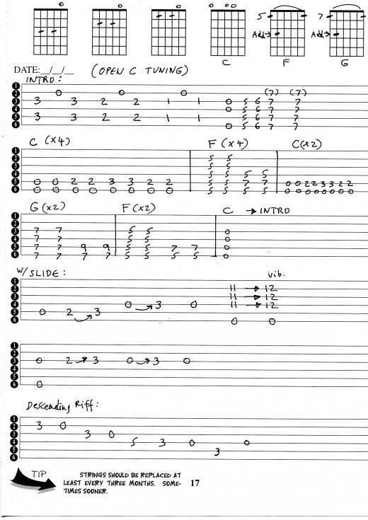 Guitar lesson on Open C tuning, with chord pictures and guitar tabs ...