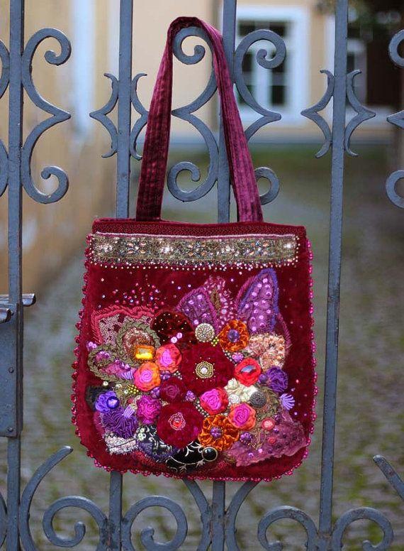 Renaissance  ornate  wearable art  romantic purse door FleursBoheme