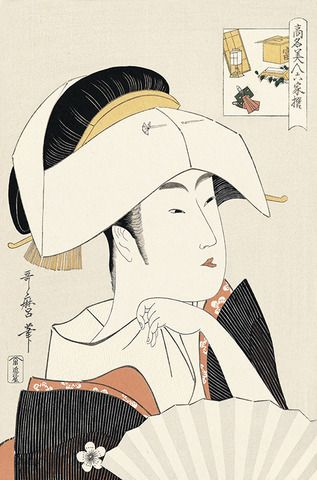 "喜多川歌麿 高名美人六家撰5 富本豊雛 とみもととよひな Tomimoto Toyohiyoko of the Yoshiwara by Kitagawa Utamaro from the series ""Renowned Beauties Likened to the Six Immortal Poets"""