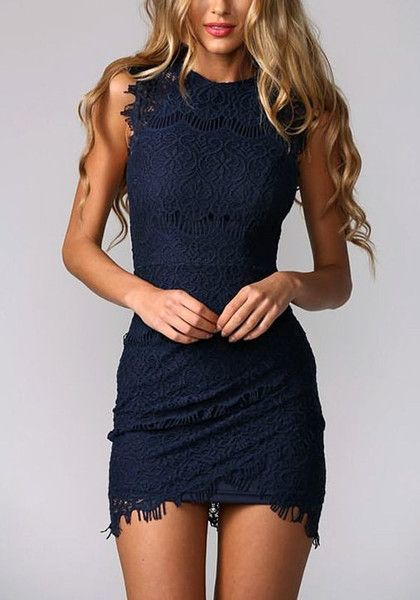 Revamp your date look by going for something subtly sweet but über sophisticated, like this navy blue lace sheath dress.