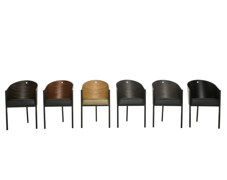 Costes by Philippe Starck Easy chair. Black painted tubular steel structure and curved plywood mahogany, ebonized mahogany, grey oak, striped wenge, bamboo or grey erable maple finished shell. Polyurethane foams padded seat with black or beige leather fixed cover.