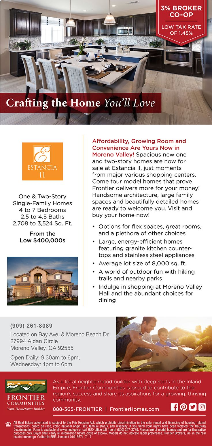 New Homes for Sale in Moreno Valley, California  Spacious, New Homes in Moreno Valley!  Brokers Welcome -  3% Broker Co-Op!  Bring your clients to see large homes with lots of flexable options |  8,000 lots size  |  Low Tax Rate of 1.45%  | Energy-Efficient Homes  http://www.fhcommunities.com/communities/community-detail/estancia-9.cfm