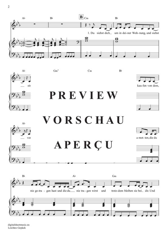 Leichtes Gepäck (Klavier Begleitung + Gesang) Silbermond [PDF Noten]