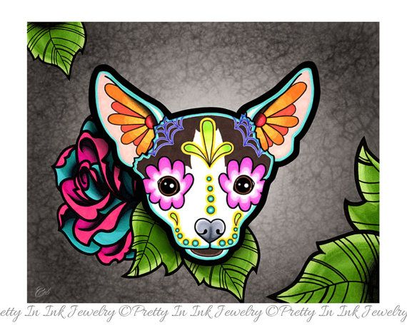 Day of the Dead Chihuahua in Moo  Sugar Skull Dog Art Print by Pretty In Ink Jewelry, $14.95