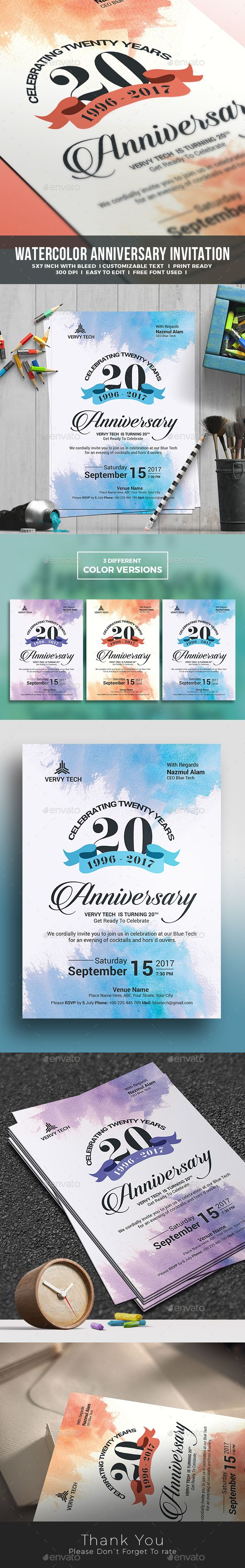 Water Color Anniversary Invitation Template Design for Corporate and Formal Invitation- Anniversary Greeting Cards Download https://graphicriver.net/item/anniversary-invitation/18525254?ref=themedevisers