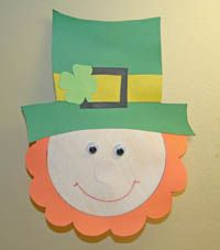 Paper Leprechaun Craft (includes pattern free) or could use cricut flower pattern for beard, cirle for head & nose, and a hat.