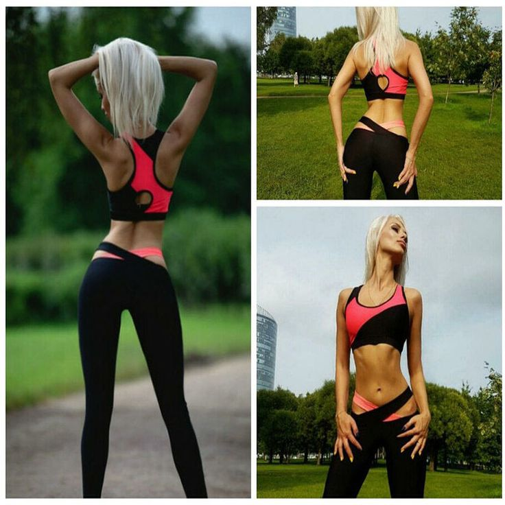 Running/Training/Yoga Women Sport Wear Vest Tank Top Long Trousers Outfit Set