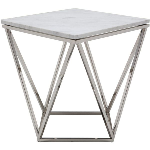 Nuevo Jasmine White Marble and Stainless Steel Side Table ($520) ❤ liked on Polyvore featuring home, furniture, tables, accent tables, modern end table, stainless table, stainless steel furniture, modern home furniture and modern side table