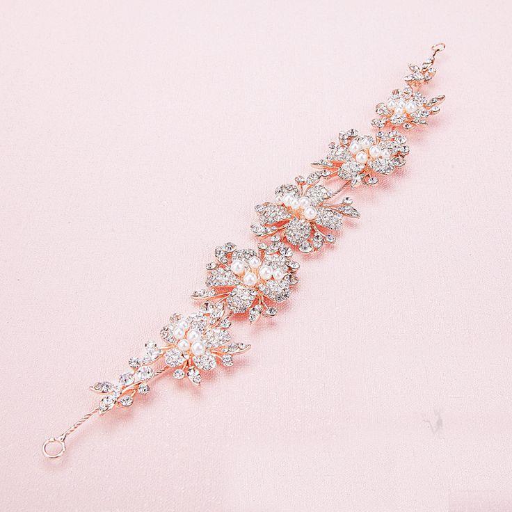 Newe Fashion Charming Pearl Crystal Bridal Tiaras Rhinestone Rose Gold Headbands for Women Wedding Hair Jewelry accessories