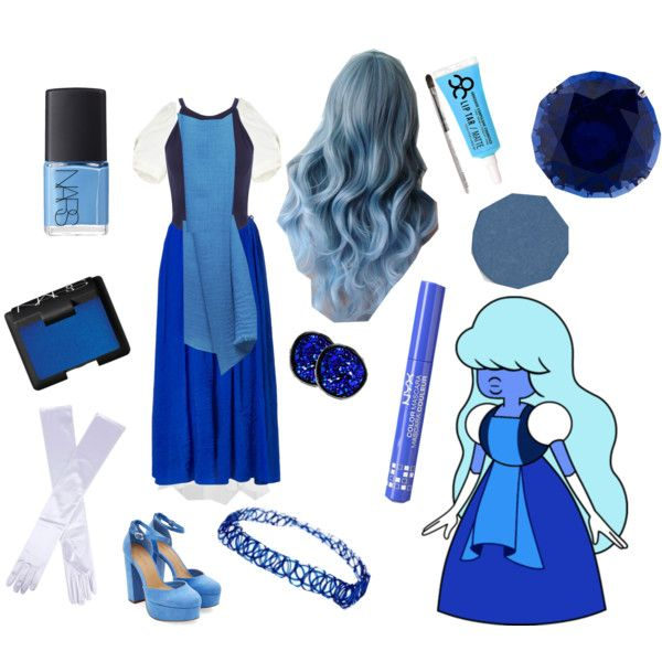 Sapphire - Steven Universe by dirtyblondegamer on Polyvore featuring Loup Charmant, Miss Selfridge, Suncoo, CARAT*, ASOS, Dents, Me & Kashmiere, NYX, Obsessive Compulsive Cosmetics and NARS Cosmetics