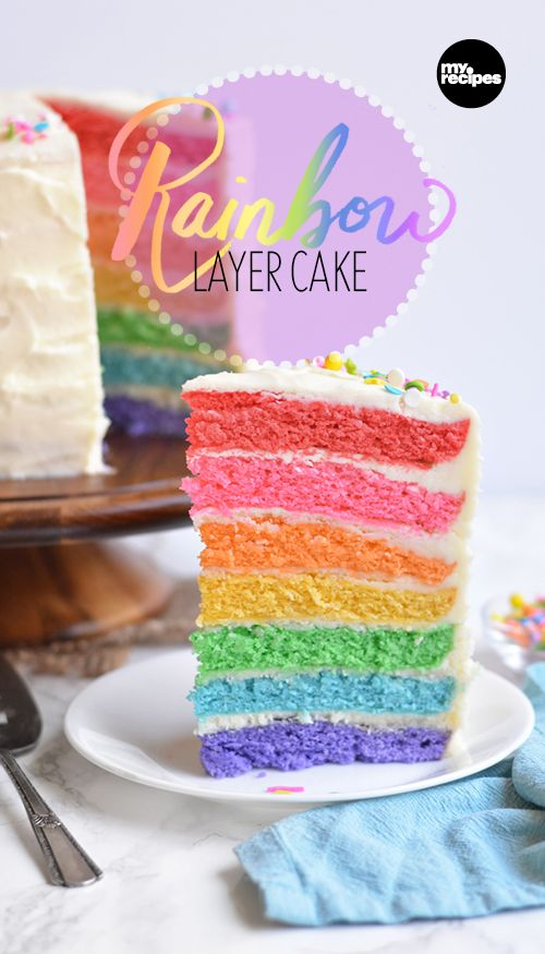 Rainbow Layer Cake | MyRecipes.com  Actually taste the rainbow with a vibrant 7-layer rainbow cake! Tip: Use liquid gel or gel-paste food coloring for a deeper, richer color as opposed to its traditional liquid counterpart.
