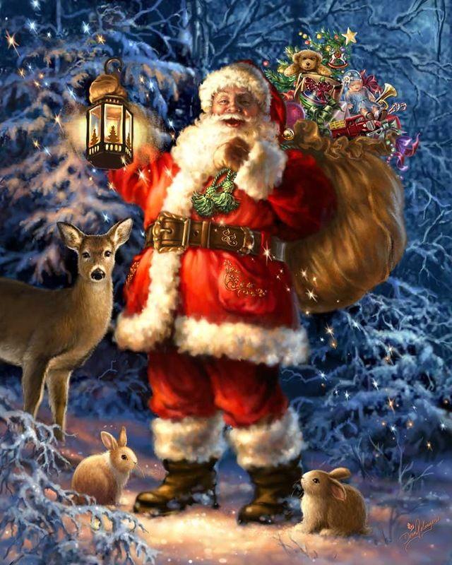 Днем, новогодние открытки дед мороз звери