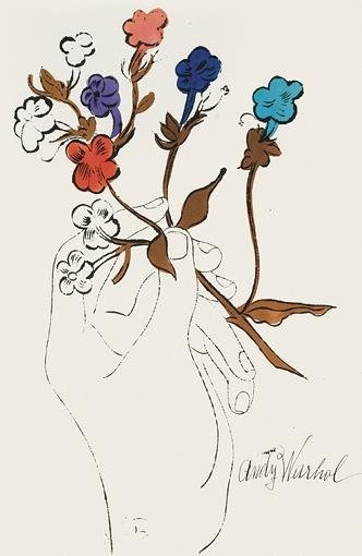 Hand with Flowers-Andy Warhol-1957(offset lithograph and watercolor on paper)