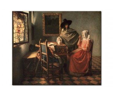 Quadro contemporaneo L'uomo e la donna che bevono vino