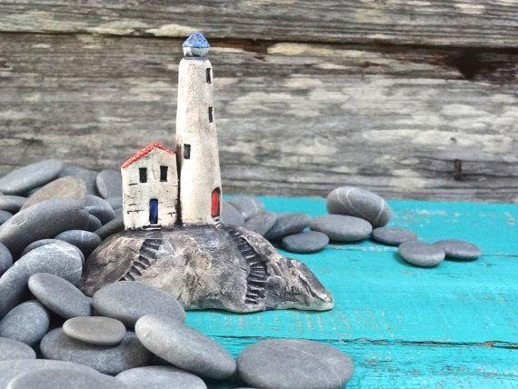 Miniature lighthouse on rocks  OOAK ceramic by theCherryHeart