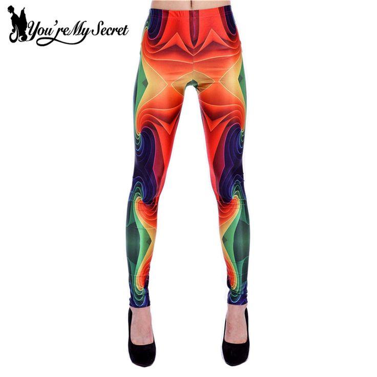 [You're My Secret] New Arival 3D Print Women Leggings Geometric Knitted Fashion Skinny Leggins Size S M L Mujer Legging Pants