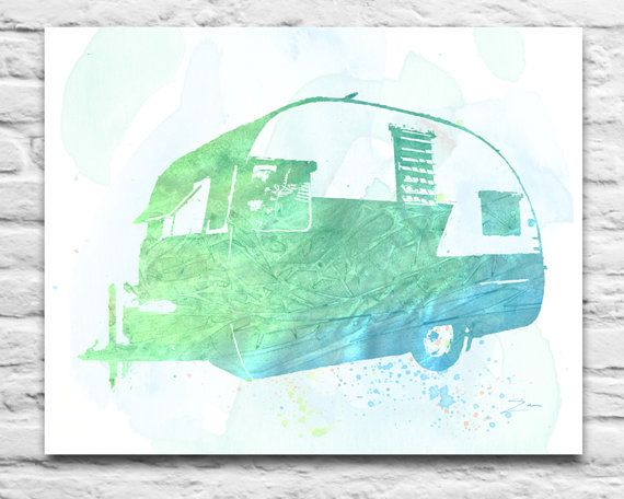 Vintage Shasta RV Trailer classic car inspired watercolor ink Art Printable DIGITAL DOWNLOAD You Print, Diy, Christmas Fathers, 8x10 11x14