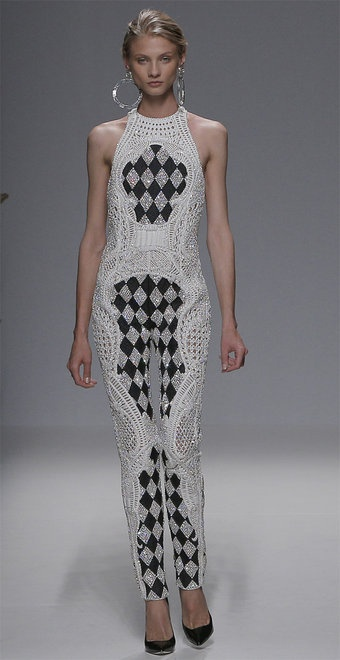 Balmain couture, also worn by Miley Cyrus at the 2013 Billboard Music Awards