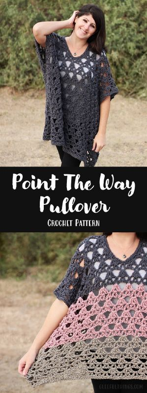 January 27, 2016 I have a new crochet pattern to share today! I'm really excited about this one because it's my second garment design! Introducing the Point The Way Pullover ! It's a comfy, ...