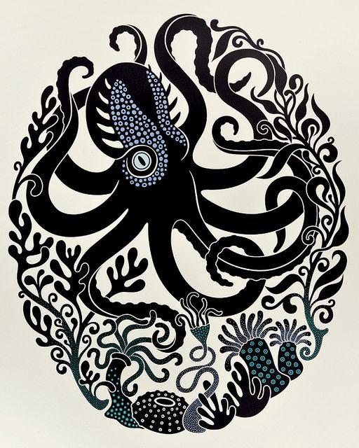 'Octopus & Anemones' Screenprint | Flickr - Photo Sharing!
