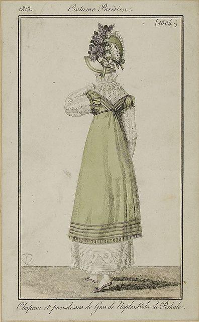 Costume Parisien (1304), 1813. Chapeau et par-dessus de Gros de Naples, Robe de Perkale  by SceneInThePast via flickr
