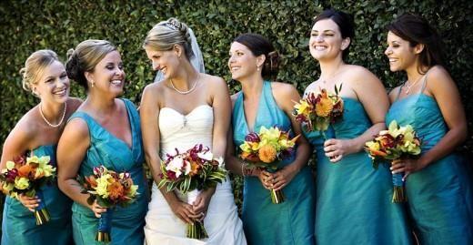 Бирюзовое платье подружки невесты