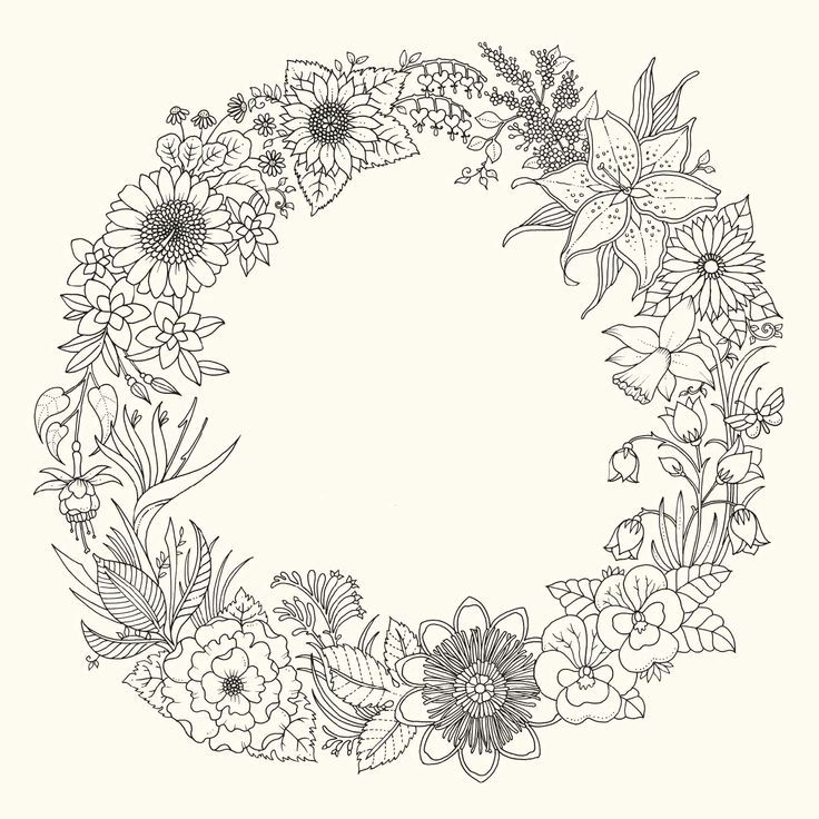 Wreath Adult Colouring Page Coloring Colouring Cvetochnye