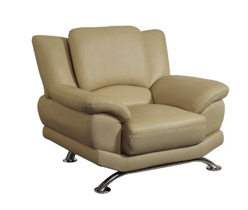 Global Furniture Rogers Collection Bonded Leather Matching Chair, 9908, Cappuccino with Chrome Legs | [Polo's] Furniture