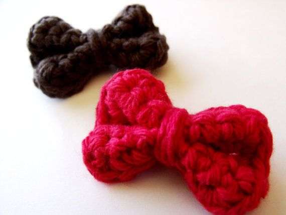 Crochet Hair Ribbons : Crocheted Hair Bow Clips