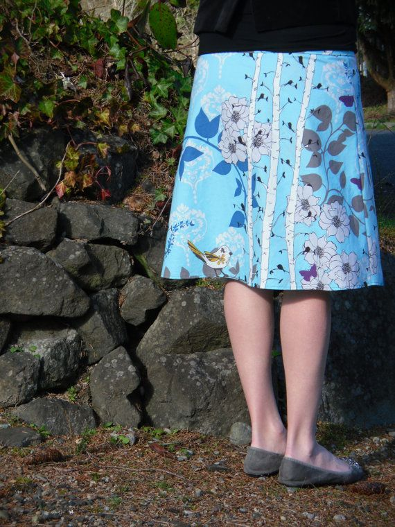 A Little Birdie Told me ALine Skirt Floral Bird by SewingBySelena, $48.00