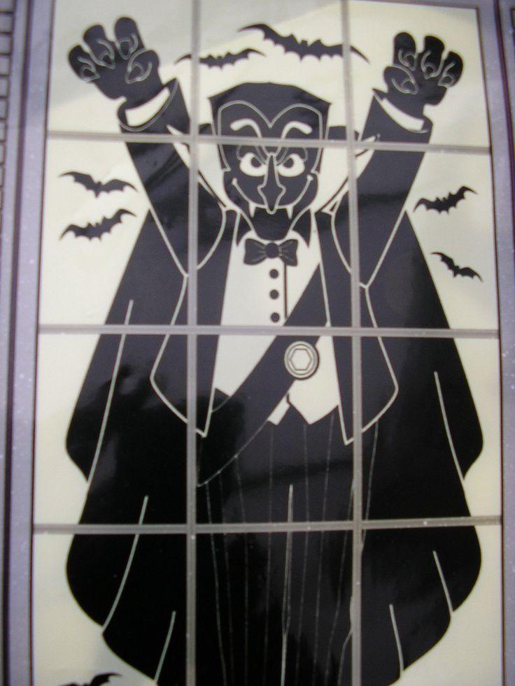 "halloween window silhouette decoration 30"" x 48"" vampire | eBay"